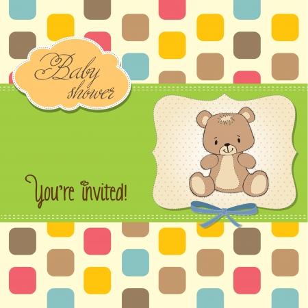 teddybear: baby shower card with teddy bear, in vector format Illustration