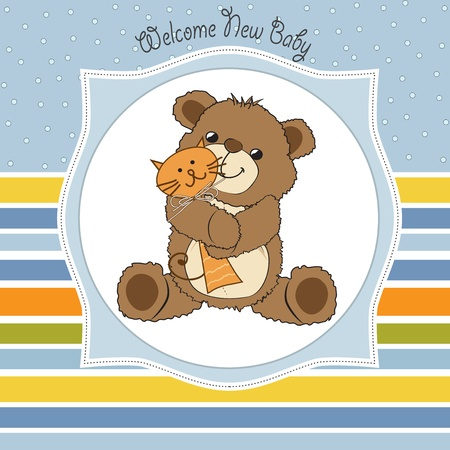 cheerfulness: baby shower card with teddy bear and his toy,  illustration