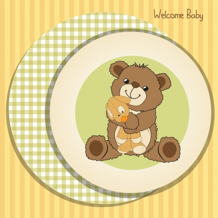 baby bear: baby shower card with teddy bear and his toy,  illustration