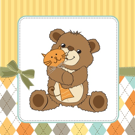 baby birthday party: childish greeting card with teddy bear and his toy,  illustration