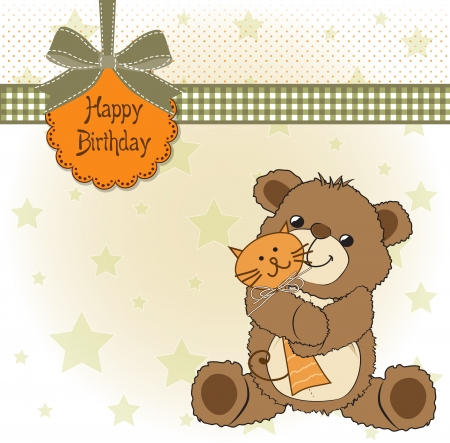 birthday greeting card with teddy bear and his toy,  illustration Vector