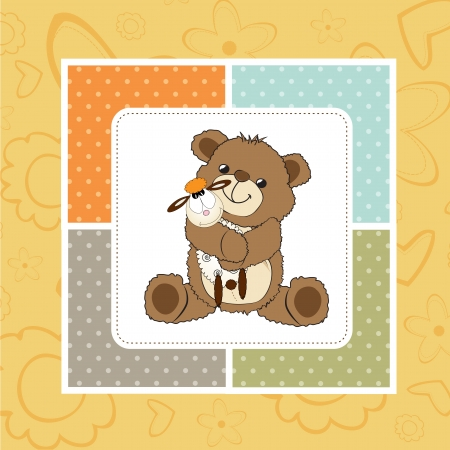 childish greeting card with teddy bear and his toy,  illustration Vector