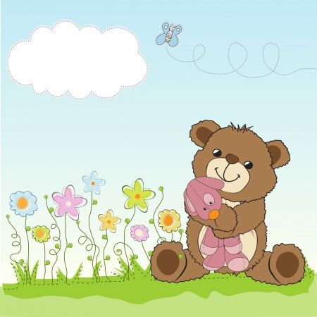 teddy: childish greeting card with teddy bear and his toy,  illustration