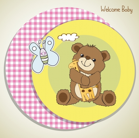 baby shower card with teddy bear and his toy,  illustration Vector