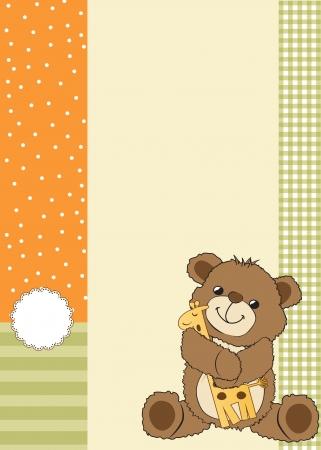 battesimo: infantile biglietto di auguri con orsacchiotto e il suo giocattolo, illustrazione
