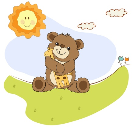 infants: childish greeting card with teddy bear and his toy,  illustration