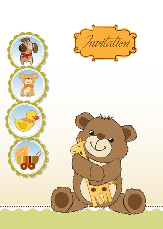 cheerfulness: childish greeting card with teddy bear and his toy,  illustration