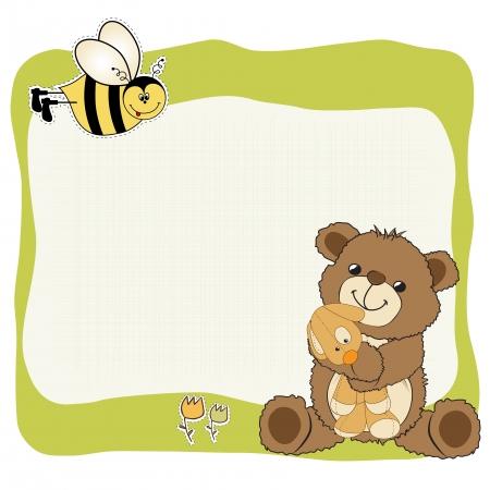 joyfulness: childish greeting card with teddy bear and his toy,  illustration