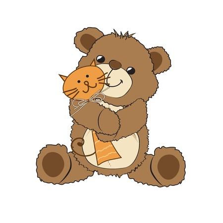 newborn baby girl: teddy bear playing with his toy, a cat,  illustration Illustration