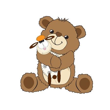 테디 베어는 자신의 장난감, 작은 양, 그림과 함께 연주