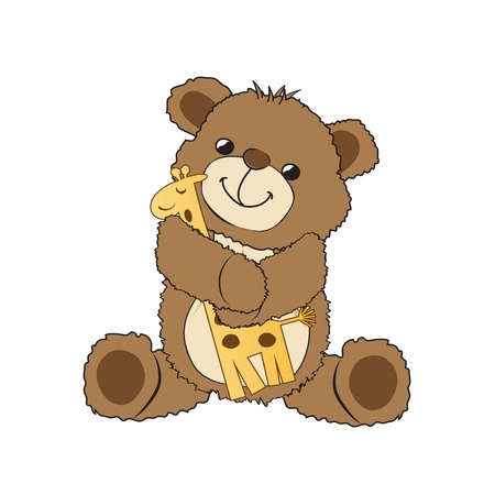 teddy bear playing with his toy, a giraffe,  illustration