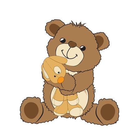joyfulness: teddy bear playing with his toy, a little dog,  illustration Illustration