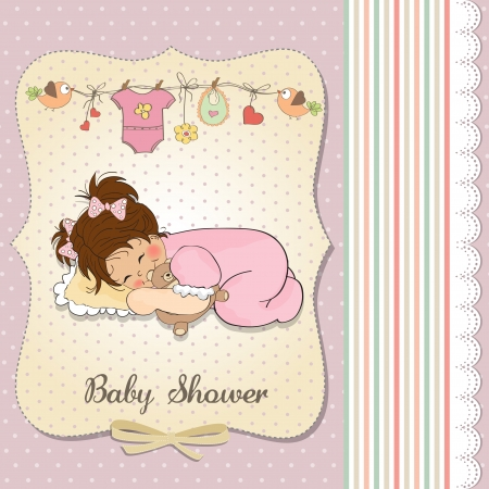 baby shower card with little baby girl play with her teddy bear toy Ilustração