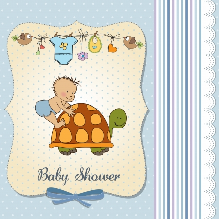 funny baby boy announcement card Stock Vector - 18117740