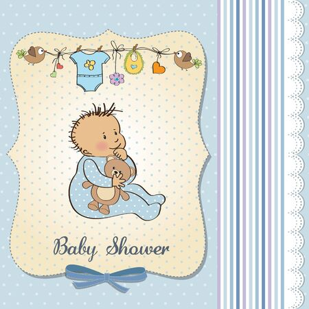 baby announcement card with little boy Stock Vector - 18117742
