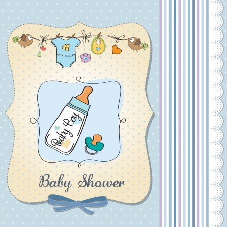 baby announcement card with milk bottle and pacifier Stock Vector - 18117817