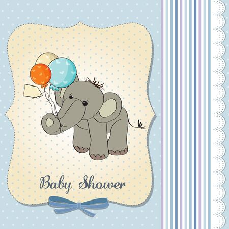 baby boy shower card with elephant and balloons, cevtor illustration Stock Vector - 18117748