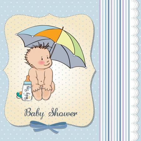 nude baby: baby boy shower card with funny baby under his umbrella