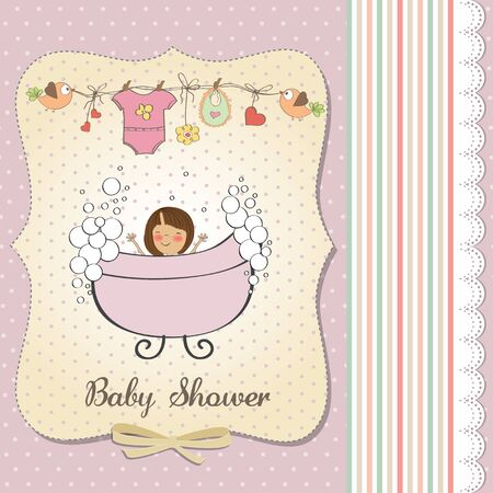 romantic baby girl shower card Stock Vector - 18117764