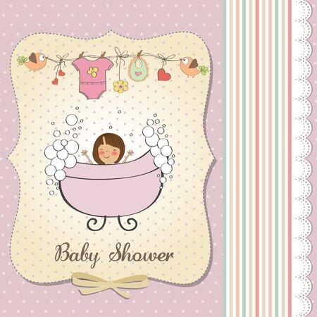 romantic baby girl shower card Stock Vector - 18117764