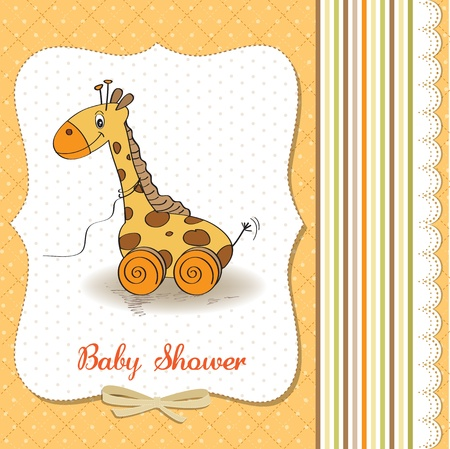 pull along: Baby shower card with cute giraffe toy, vector illustration