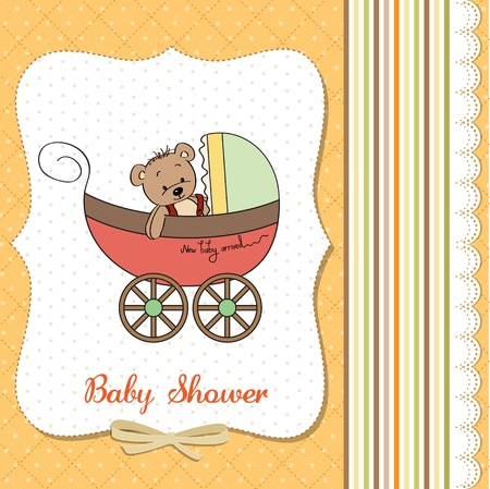 funny teddy bear in stroller, baby announcement card Stock Vector - 18117913