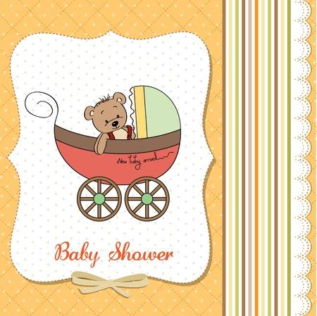 funny teddy bear in stroller, baby announcement card Stock Vector - 18117913