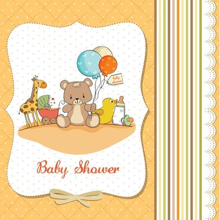 carte de douche de bébé avec des jouets Vecteurs