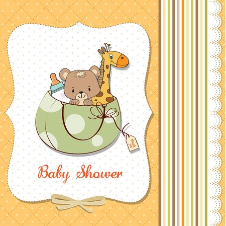 new baby announcement card with bag and same toys, illustration in vector format Vector