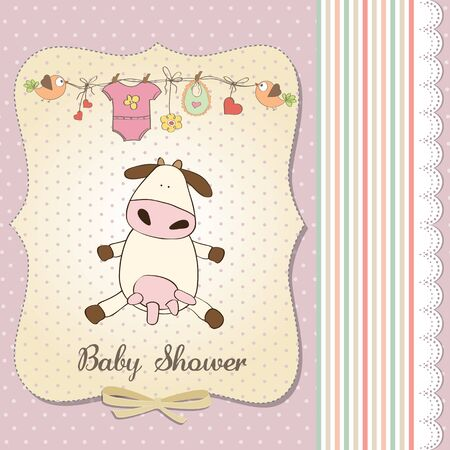 new baby girl announcement card with cow Stock Vector - 18117828