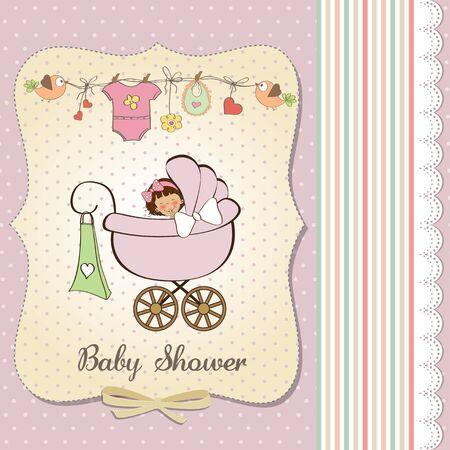 child birth: baby girl announcement card