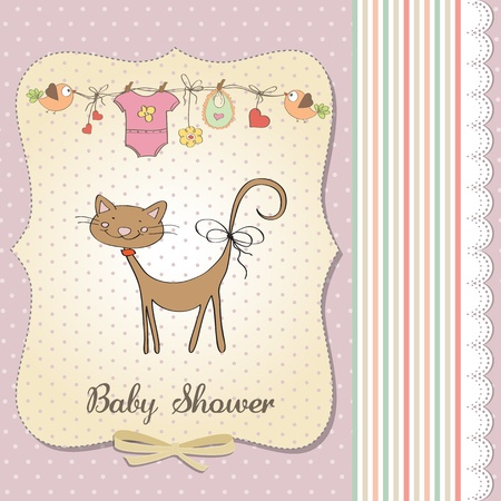 new baby shower card with cat Stock Vector - 18117744