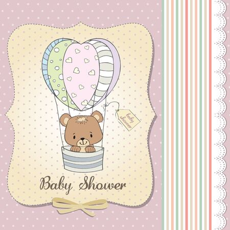 teddy bear love: new baby girl announcement card with teddy bear Illustration