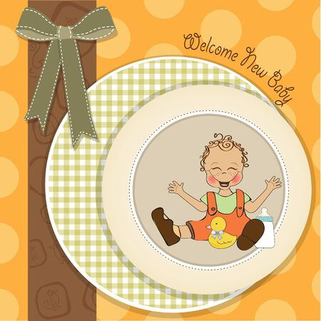baby playing toy: baby boy playing with his duck toy, welcome baby card in vector format