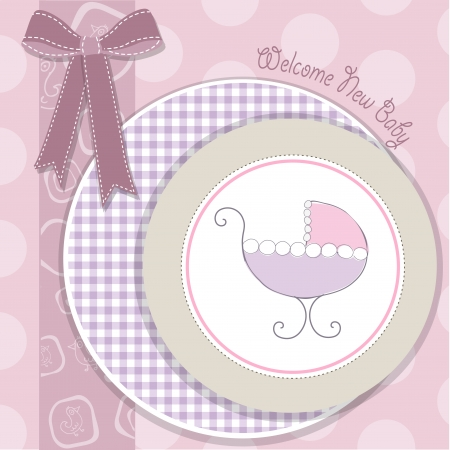 delicate baby girl announcement card with pink stroller Stock Vector - 18150603