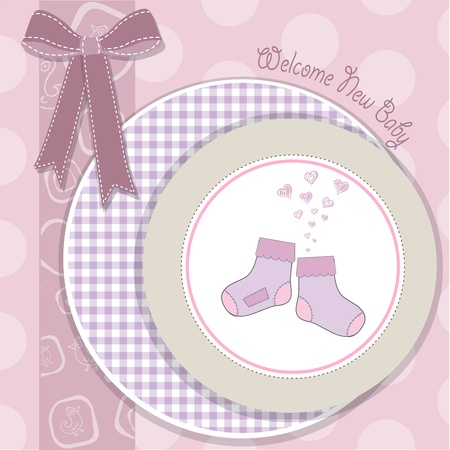 baby girl shower announcement card in vector format Vector