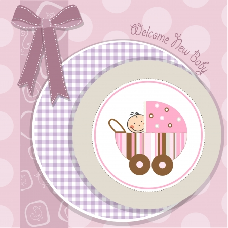 baby girl announcement card with stroller Illustration