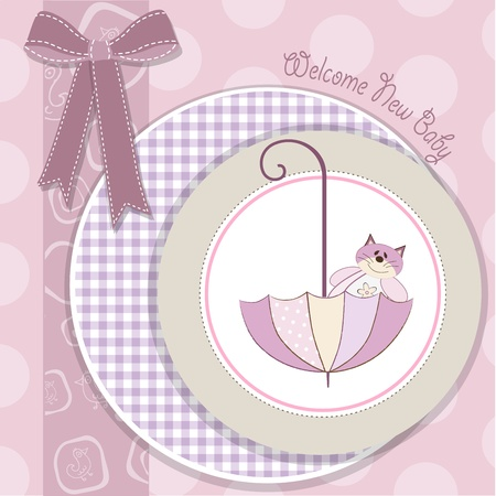 baby girl shower card with cat toy and umbrella Stock Vector - 18150654