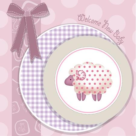 fita: nova menina beb� chegou, Cart�o do chuveiro com as ovelhas-de-rosa