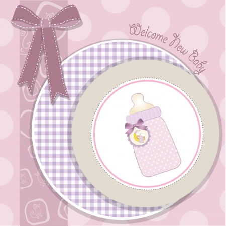 new baby girl announcement card Vector