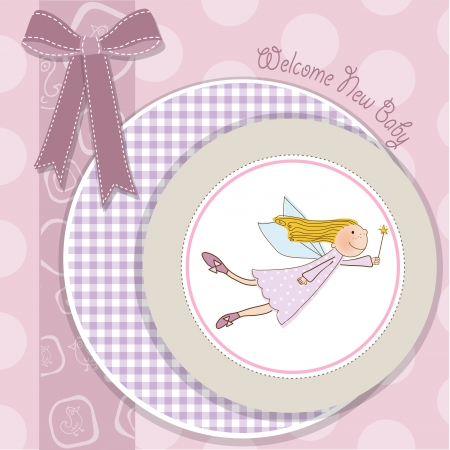 baby girl shower card with little fairy, vector illustration Stock Vector - 18150651