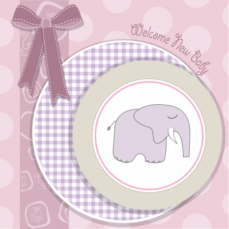 new little girl arrived, shower card with little pink elephant Vector