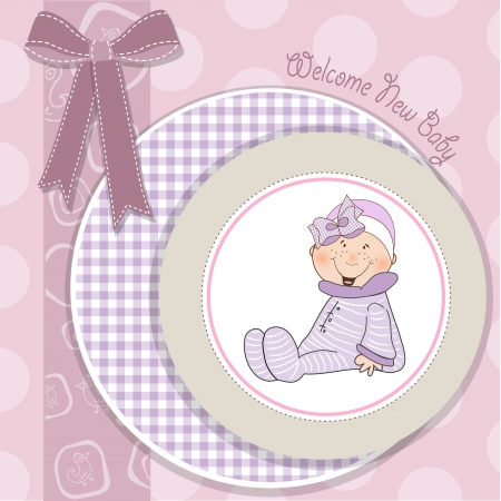 welcome, baby girl announcement card Vector