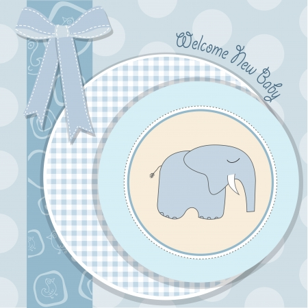 baby boy shower card with blue elephant Vector