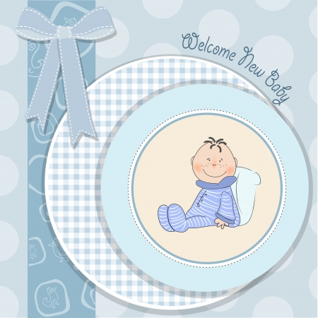 new baby announcement card with little baby Stock Vector - 18150663
