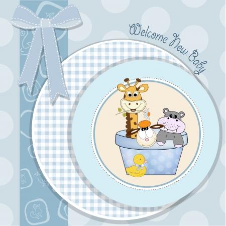 boy bath: baby boy shower card with animal toys