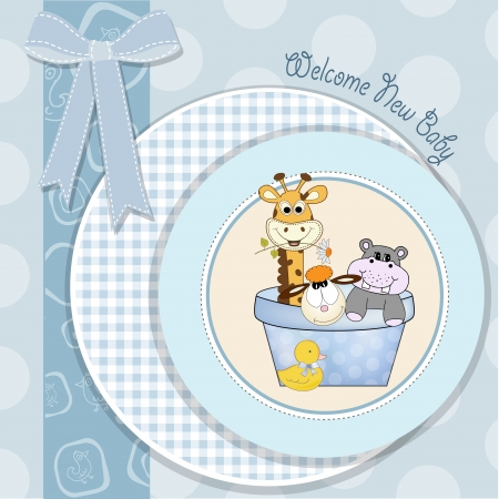 baby jongen douche kaart met dieren speelgoed