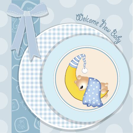 baby boy shower card with teddy bear Vector