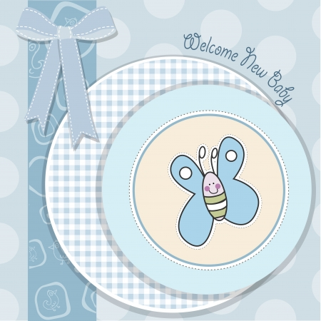 bautismo: beb� ducha tarjeta con la mariposa en formato vectorial Vectores