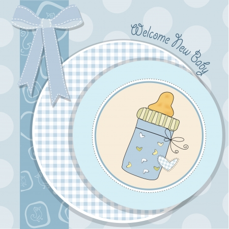 baby blue: baby boy shower card with bottle milk